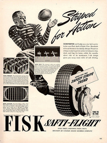 1941 Fisk Safti-Flight Striped Tires Original Print Ad - TnTCollectibles