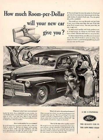 1941 Ford Room per Dollar 6 and 8 Cylindar Original Car and Truck Print Ad - TnTCollectibles