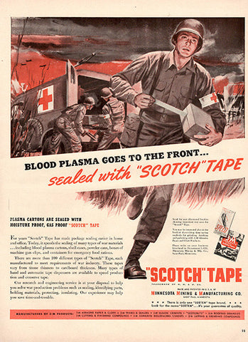 1942 Blood Sealed with Scotch Tape Original World War 2 WW2 Print Ad - TnTCollectibles