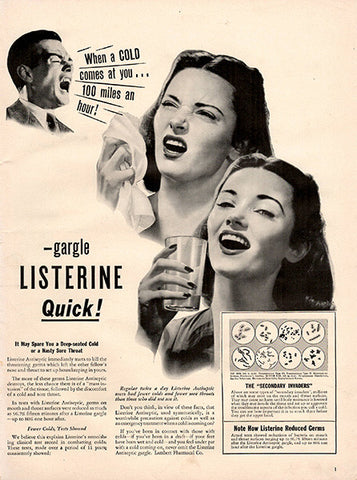 1942 Listerine Mouth Wash Cold and Flu Mouthwash Original Print Ad - TnTCollectibles