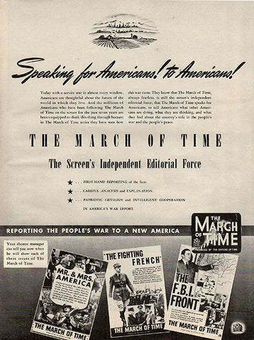1942 March of Time Movie News Original World War 2 WW2 Print Ad - TnTCollectibles