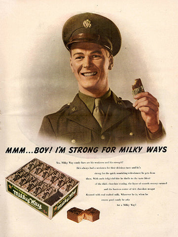 1942 Milky Way Candy Soldier Quote Original World War 2 WW2 Print Ad - TnTCollectibles