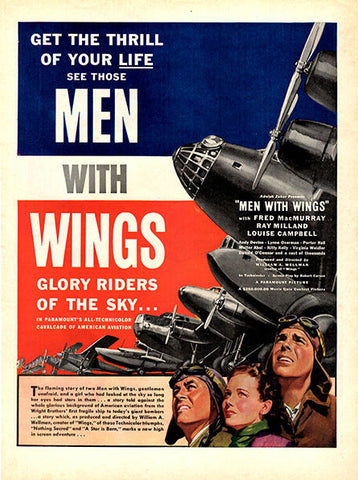 1938 Men With Wings Original Movie Print Ad - Fred MacMurray and Ray Milland. - TnTCollectibles