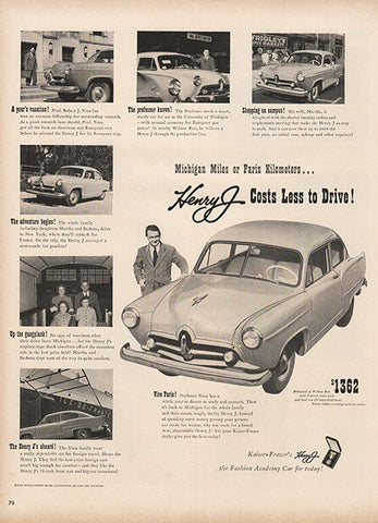 Large Antique 1951 Auto Henry J Car Magazine Print Ad - Approx 11 x 14 - TnTCollectibles