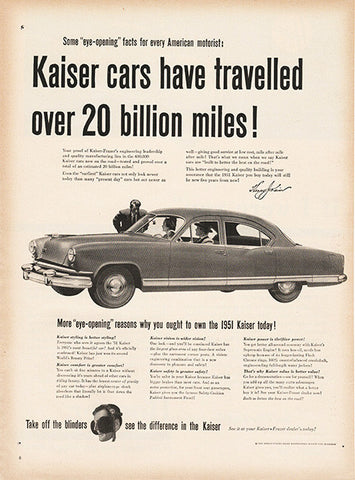 Large Antique 1951 Auto Kaiser Car Magazine Print Ad - Approx 11 x 14 - TnTCollectibles