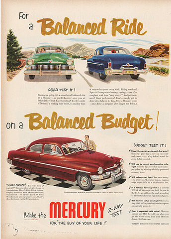 Large Antique 1951 Auto Mercury Car Magazine Print Ad - Approx 11 x 14 - TnTCollectibles