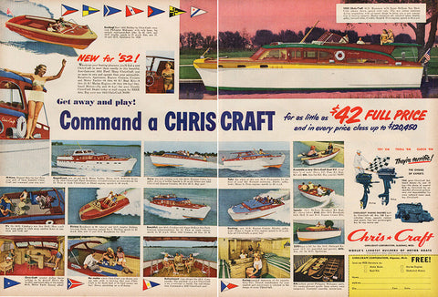 Large Antique 1951 Chris Craft Motor Boat Advertising Magazine Print Ad - Approx 21 x 14 - TnTCollectibles