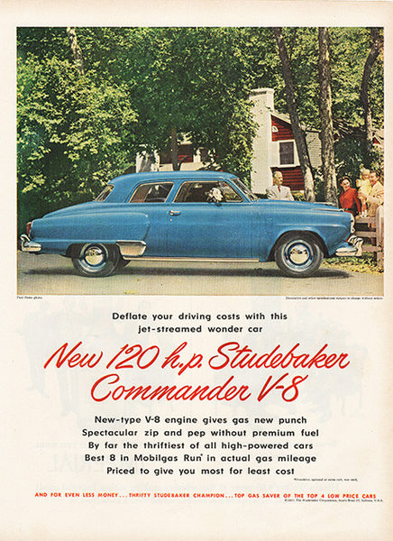Large Antique 1951 Auto Studebaker Commander V8 Car Magazine Print Ad 1 - Approx 11 x 14 - TnTCollectibles