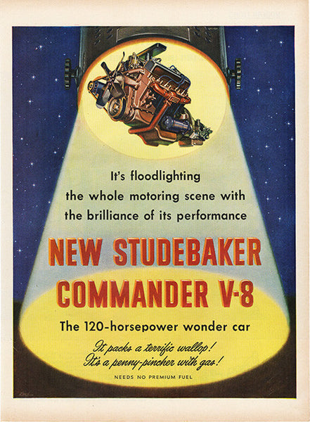 Large Antique 1951 Auto Studebaker Commander V8 Car Magazine Print Ad 2 - Approx 11 x 14 - TnTCollectibles
