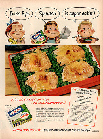 1951 Birds Eye Frozen Spinach Original Food and Drink Print Ad - TnTCollectibles