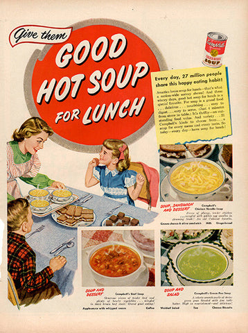 1951 Campbell's Soup For Lunch Original Food and Drink Print Ad - TnTCollectibles
