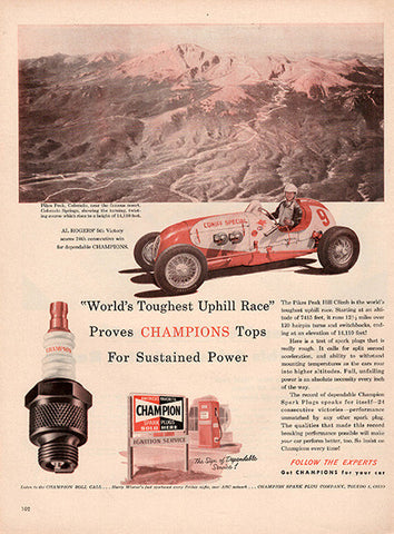1951 Champion Spark Plugs Mountain Racing Original Auto Parts Print Ad - TnTCollectibles