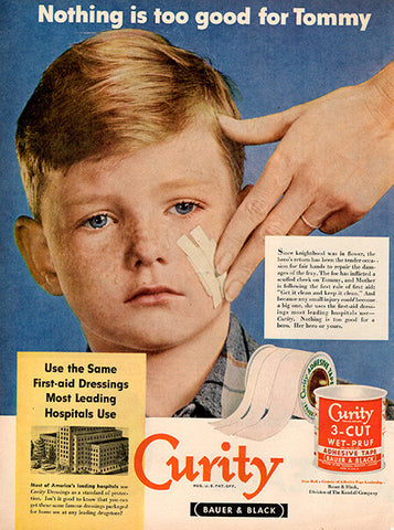1951 Curity First Aid Tape Bandages Original Health and Beauty Print Ad - TnTCollectibles
