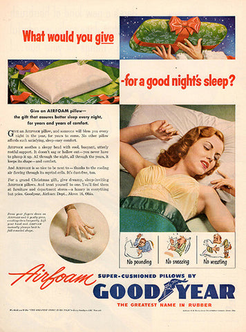 1951 Goodyear Airfoam Pillows Original Home and Office Print Ad - TnTCollectibles