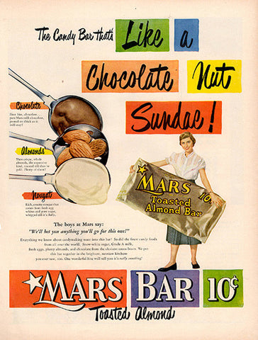 1951 Mars Toasted Almond Candy Bar Original Food and Drink Print Ad - TnTCollectibles