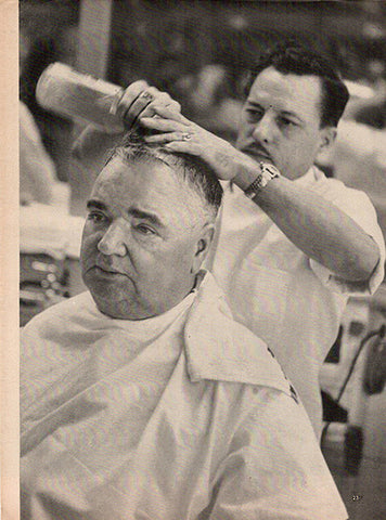 1952 Barber Cutting a Man's Hair Original Occupation Print Photo - TnTCollectibles