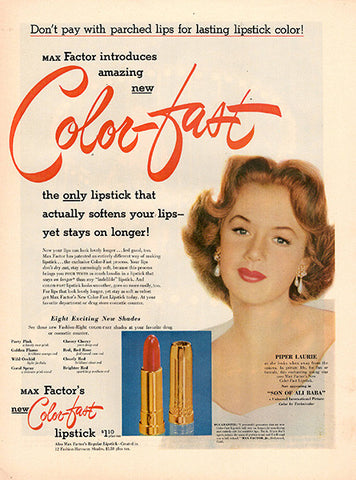1952 Color Fast Lipstick Original Health and Beauty Print Ad - TnTCollectibles