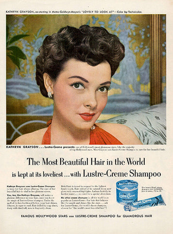 1952 Lustre Creme Shampoo Original Health and Beauty Print Ad - TnTCollectibles