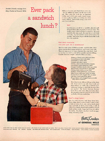 1953 Betty Crocker General Mills Sandwich Lunch Original Food and Drink Print Ad - TnTCollectibles