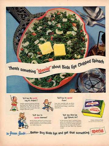 1953 Birds Eye Frozen Spinach Original Food and Drink Print Ad - TnTCollectibles