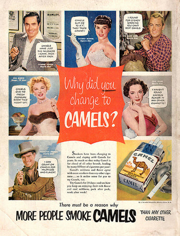 1953 Hollywood Movie Stars Camel Cigarettes Original Tobacco Print Ad - TnTCollectibles