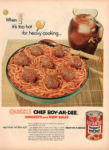 1953 Chef-Boy-Ar-Dee Spaghetti and Meatballs Original Food and Drink Print Ad - TnTCollectibles