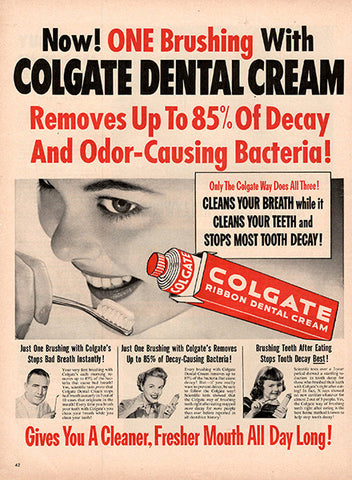 1953 Colgate Toothpaste Original Health and Beauty Print Ad - TnTCollectibles