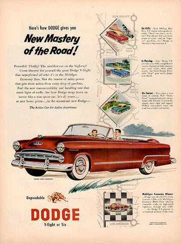 1953 Dodge Automobile V-Eight or Six Original Car and Truck Print Ad - TnTCollectibles
