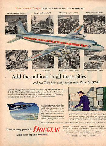 1953 Douglas Airplanes Original Travel Print Ad - TnTCollectibles