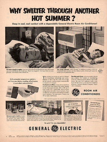 1953 General Electric Air Conditioner Original Home and Office Print Ad - TnTCollectibles
