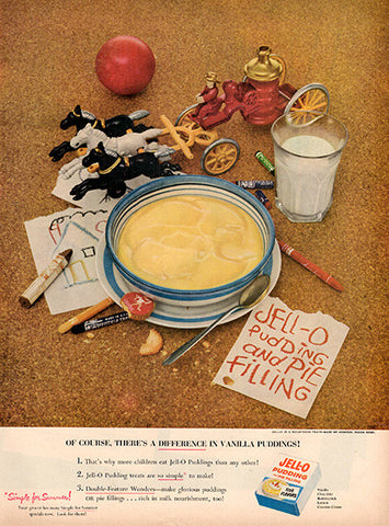 1953 Jello Pudding and Pie Filling Original Food and Drink Print Ad - TnTCollectibles
