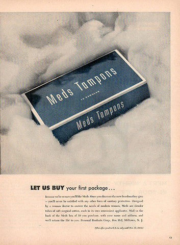 1953 Meds Tampons Original Health and Beauty Print Ad - TnTCollectibles