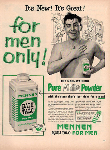 1953 Mennan Bath Talc Original Health and Beauty Print Ad - TnTCollectibles