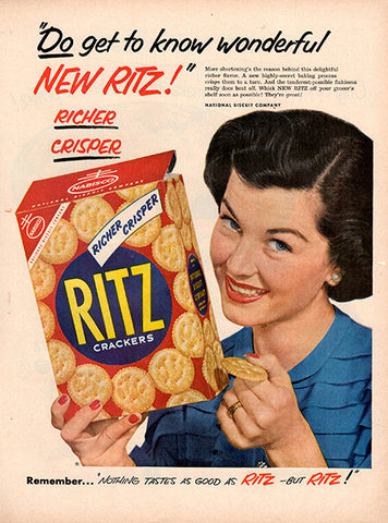 1953 Nabisco Ritz Crackers Original Food and Drink Print Ad - TnTCollectibles
