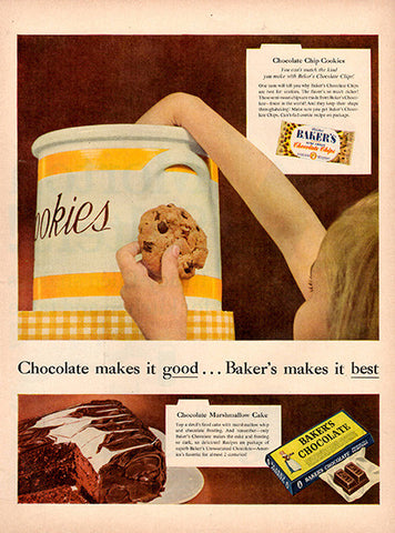 1954 Baker's Chocolate Cookies Original Food and Drink Print Ad - TnTCollectibles