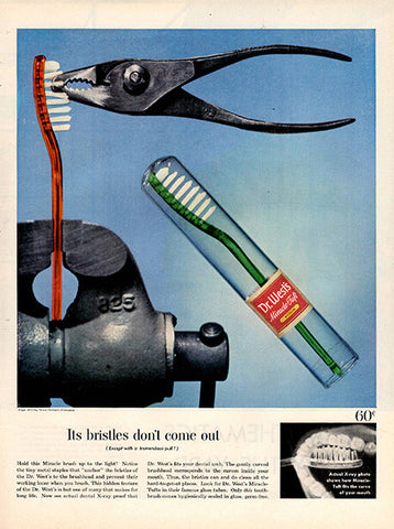 1954 Antique Dr West's Toothbrush Original Health and Beauty Print Ad - TnTCollectibles