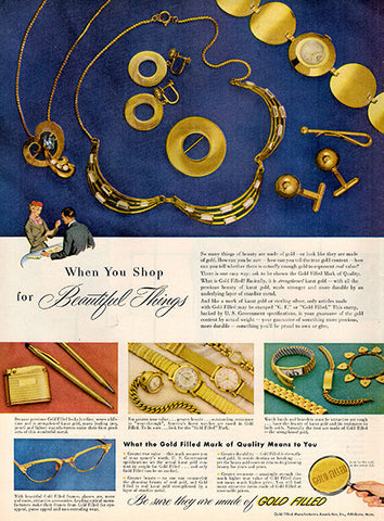 1954 Gold Filled Jewelry Original Health and Beauty Print Ad - TnTCollectibles