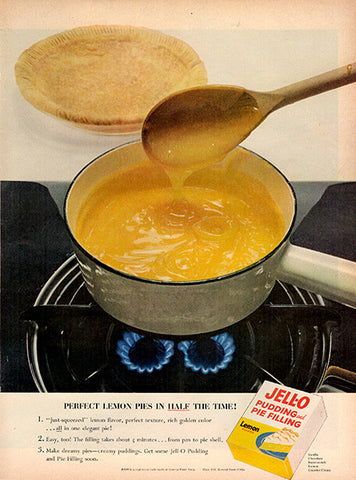 1954 Jello Pudding and Pie Filling Original Food and Drink Print Ad - TnTCollectibles