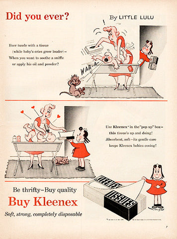 1954 Kleenex Tissues Little Lulu Comic Original Health and Beauty Print Ad - TnTCollectibles