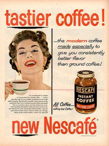 1954 Nescafe Instant Coffee Original Food and Drink Print Ad - TnTCollectibles