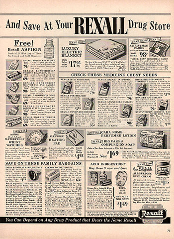1954 Rexall Drug Store Original Health and Beauty Print Ad - TnTCollectibles