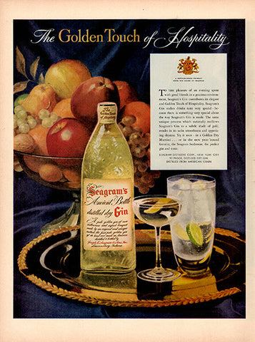 1954 Seagram's Dry Gin Original Alcohol Print Ad - TnTCollectibles