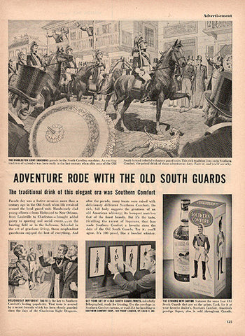 1954 Southern Comfort Old South Guards Original Alcohol Print Ad - TnTCollectibles