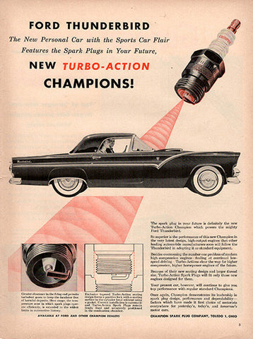 1954 Champion Spark Plugs Original Ford Thunderbird Auto Parts Print Ad - TnTCollectibles
