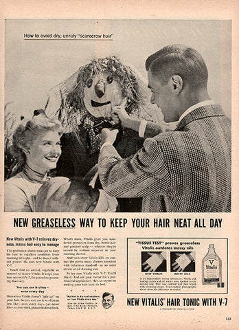 1954 Vitalis Mens Hair Grooming Original Health and Beauty Print Ad - TnTCollectibles