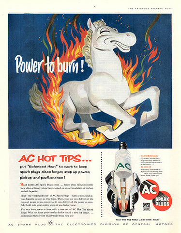 1956 AC Spark Plugs Original Auto Parts Print Ad - TnTCollectibles