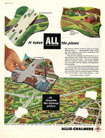 1956 Allis Chalmers Highways Original Transportation Print Ad - TnTCollectibles