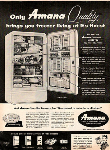 1956 Amana Freezer Appliance Original Home and Office Print Ad - TnTCollectibles