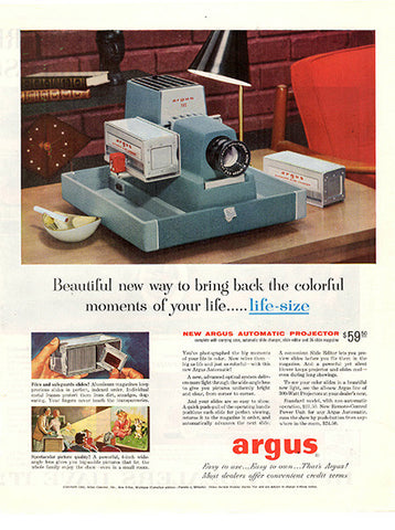1956 Argus Slide Projector Original Home and Office Print Ad - TnTCollectibles
