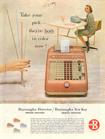 1956 Burrough's Ten Key Adding Machine Original Home and Office Print Ad - TnTCollectibles